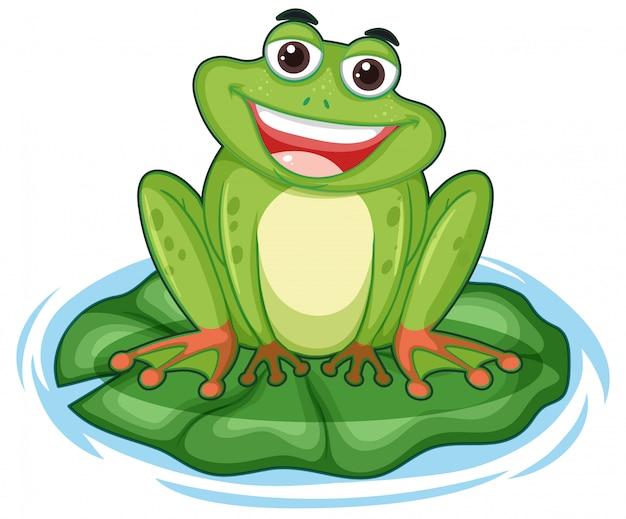 Glücklicher frosch mit großem lächeln, das auf dem blatt sitzt Kostenlosen Vektoren