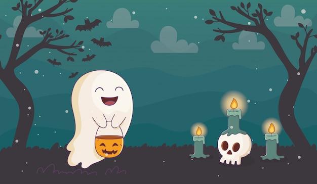 Glücklicher geist mit dem kürbiskerzen-schädel halloween Premium Vektoren