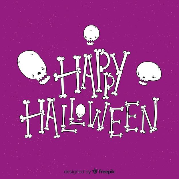 Glücklicher halloween-beschriftungshintergrund mit den schädeln Kostenlosen Vektoren