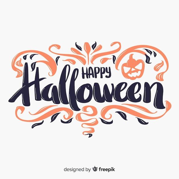 Glücklicher halloween-beschriftungshintergrund Kostenlosen Vektoren