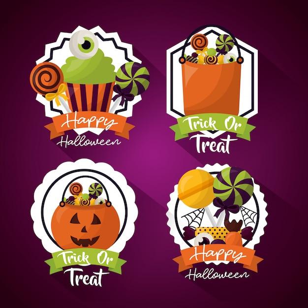 Glücklicher halloween-feiertagessatz Kostenlosen Vektoren