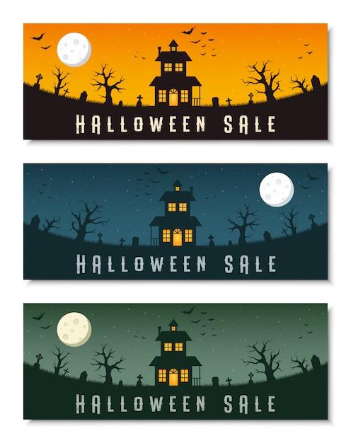 Glücklicher halloween-geschäftsfahnen-schablonensatz Premium Vektoren