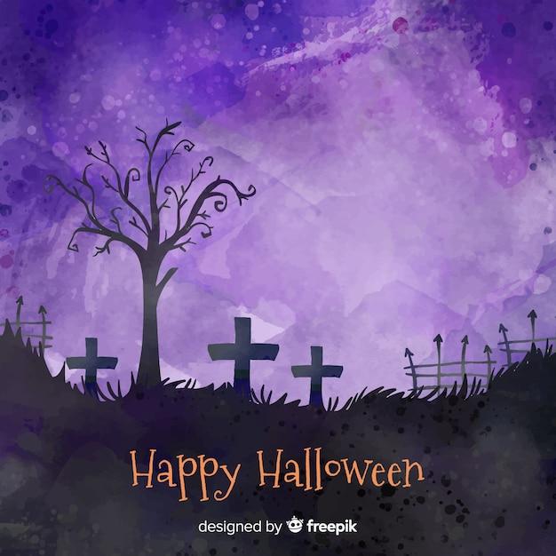 Glücklicher halloween-hintergrund in einem kirchhof Kostenlosen Vektoren