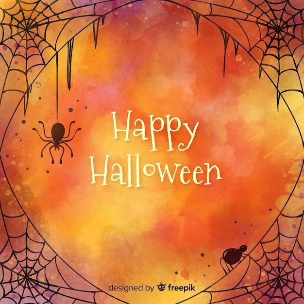 Glücklicher halloween-hintergrund mit entworfenem spinnennetz Kostenlosen Vektoren
