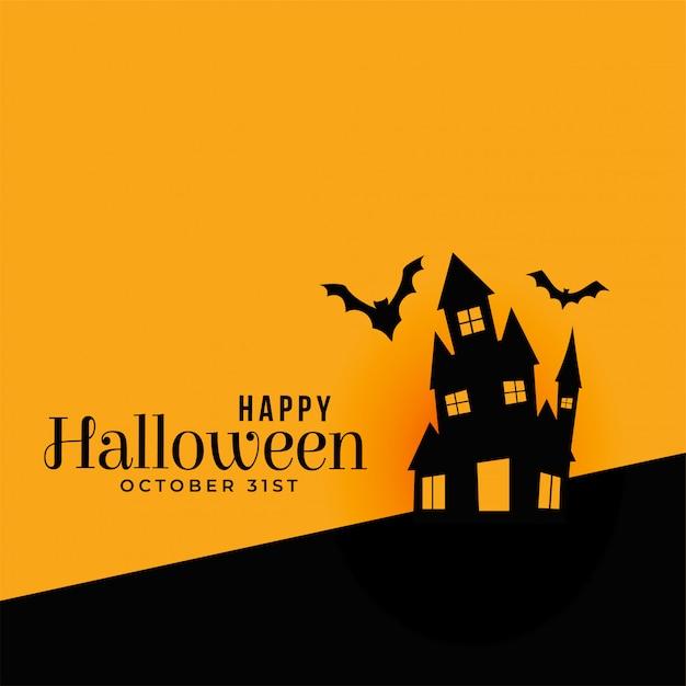 Glücklicher halloween-hintergrund mit geisterhaus Kostenlosen Vektoren