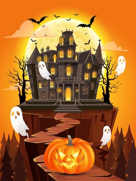 Glücklicher halloween-hintergrund mit kürbis, fliegenden geistern, spukhaus auf vollmond. illustration für glückliche halloween-karte, flieger, fahne und plakat Premium Vektoren