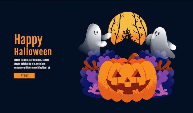 Glücklicher halloween-hintergrund mit kürbis Premium Vektoren