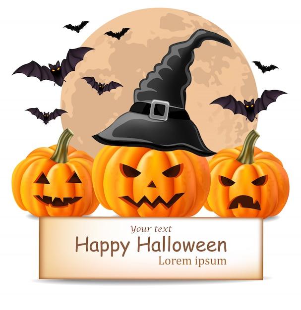 Glücklicher halloween-hintergrund mit kürbisgesichtern und -schlägern Premium Vektoren