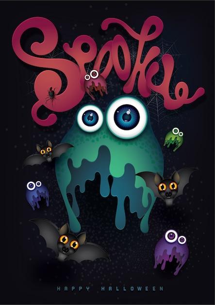 Glücklicher halloween-hintergrund mit nettem monster Premium Vektoren