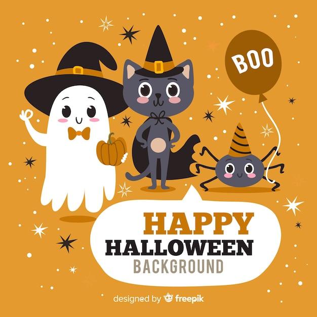 Glücklicher halloween-hintergrund mit netten zeichentrickfilm-figuren Kostenlosen Vektoren