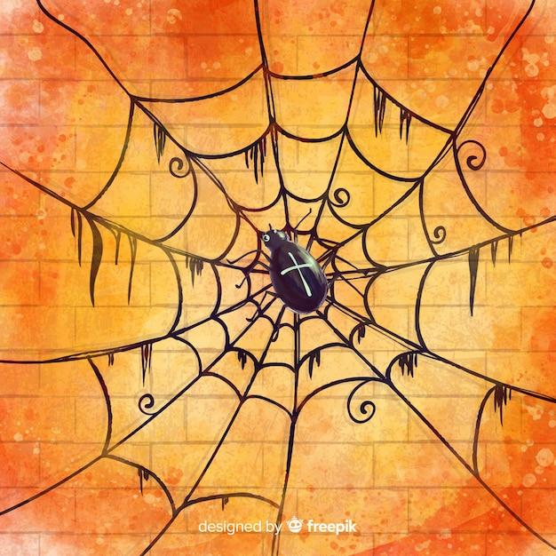 Glücklicher halloween-hintergrund mit schönem spinnennetz Kostenlosen Vektoren