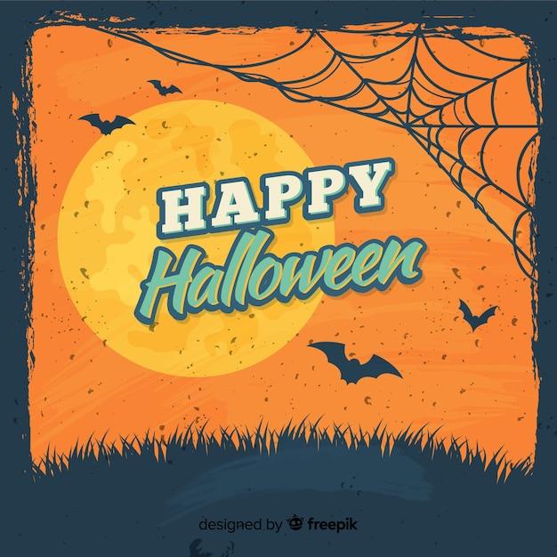 Glücklicher halloween-hintergrund mit spinnennetz, schlägern und vollmond Kostenlosen Vektoren
