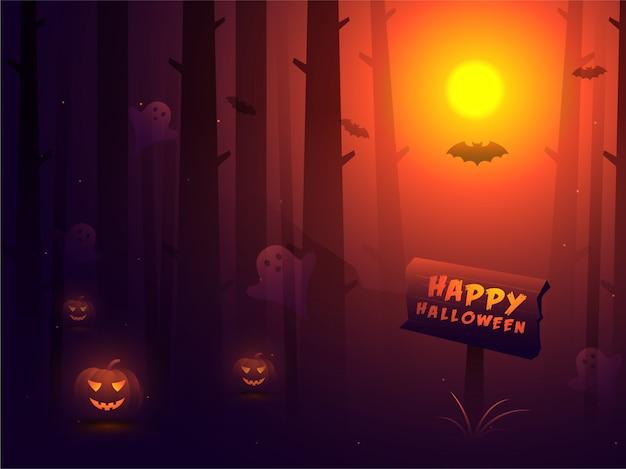 Glücklicher halloween-hintergrund. Premium Vektoren