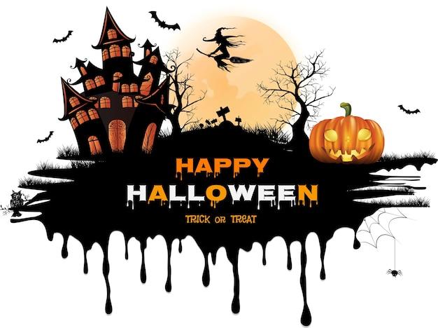 Glücklicher halloween-hintergrund Premium Vektoren