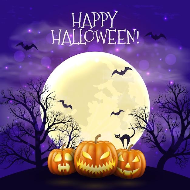 Glücklicher halloween-nachthintergrund mit realistischen furchtsamen kürbisen und mond. Premium Vektoren