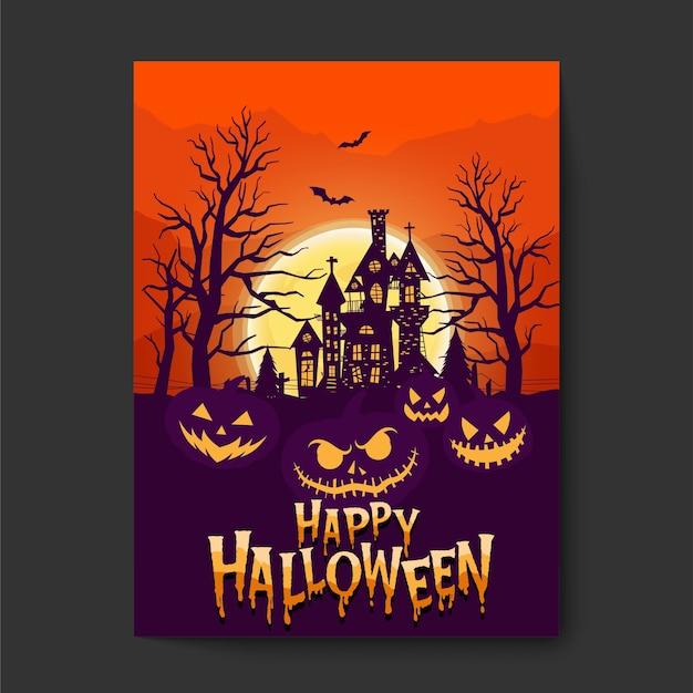 Glücklicher halloween- oder partyeinladungshintergrund mit nachtwolken und unheimlichem schloss. Kostenlosen Vektoren
