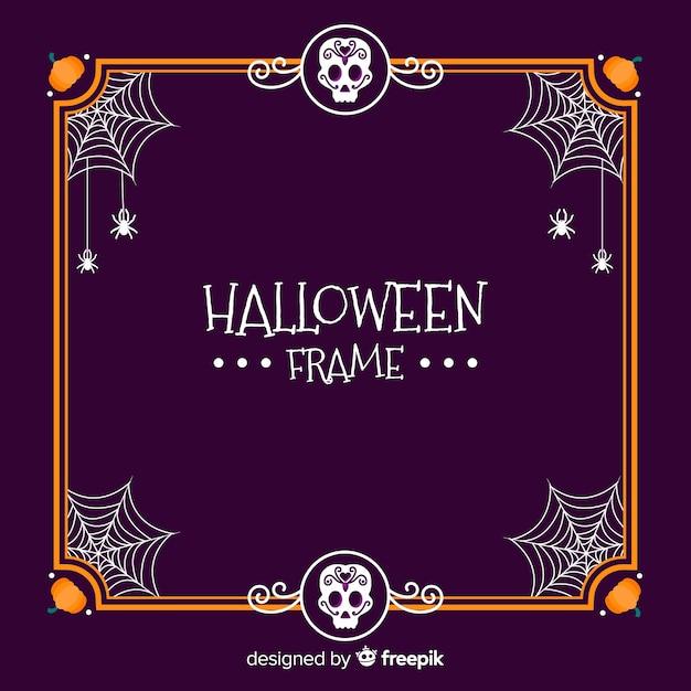 Glücklicher halloween-rahmen mit spinnennetzen Kostenlosen Vektoren