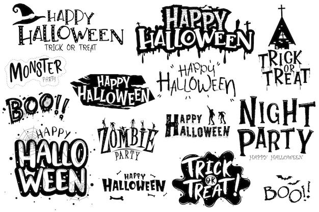 Glücklicher halloween-schriftzug Kostenlosen Vektoren