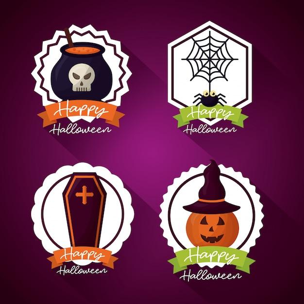 Glücklicher halloween-tagesausweissatz Kostenlosen Vektoren
