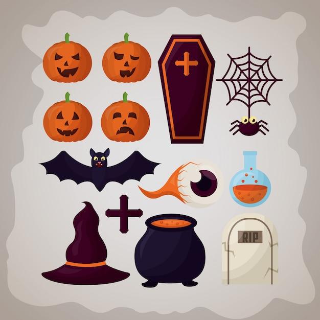 Glücklicher halloween-tageselementsatz Kostenlosen Vektoren