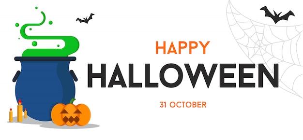 Glücklicher halloween-texthintergrund oder fahnengraphik Premium Vektoren