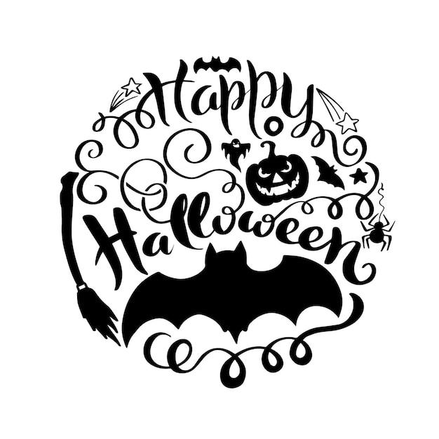 Glücklicher halloween-vektorbeschriftung Premium Vektoren