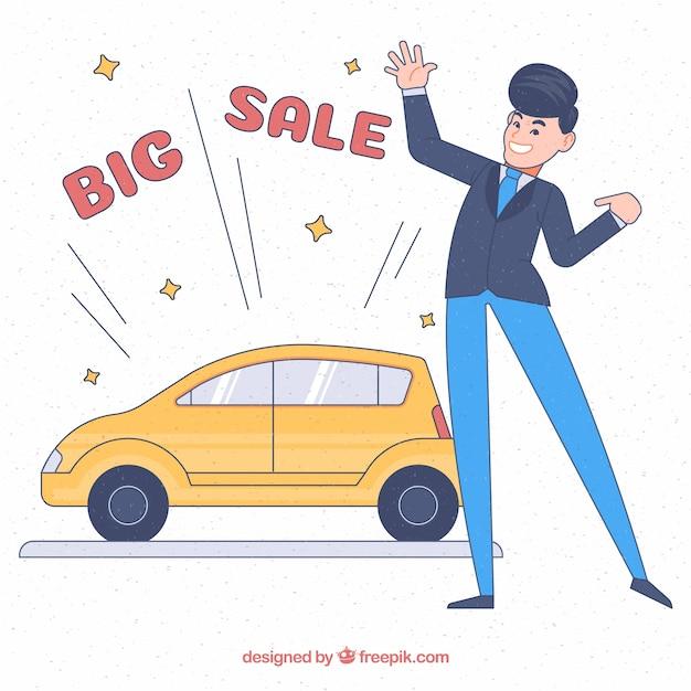 Glücklicher hand gezeichneter autoverkäufer Kostenlosen Vektoren
