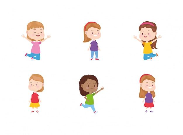 Glücklicher ikonensatz der kleinen mädchen der karikatur Premium Vektoren