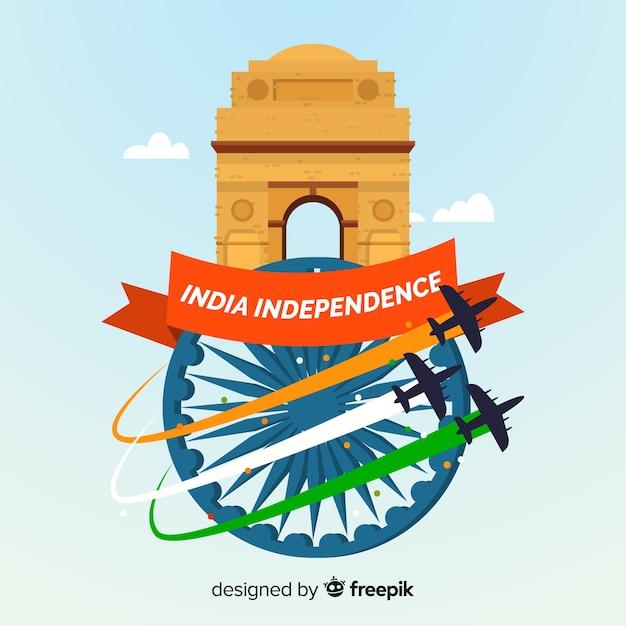 Glücklicher indischer unabhängigkeitstaghintergrund Kostenlosen Vektoren