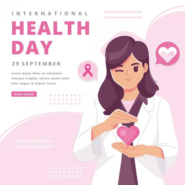 Glücklicher internationaler gesundheitstag illustrationshintergrund Premium Vektoren