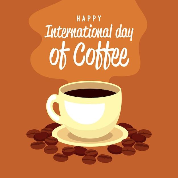 Glücklicher internationaler tag des kaffees mit tasse und bohnen Kostenlosen Vektoren