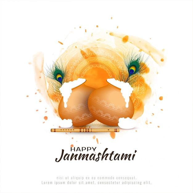 Glücklicher janmashtami festivalhintergrund Kostenlosen Vektoren