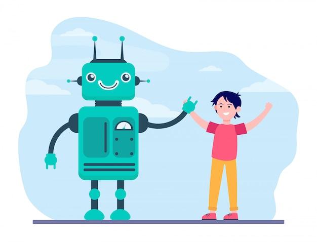 Glücklicher junge, der hände mit roboter aufsteigt Kostenlosen Vektoren