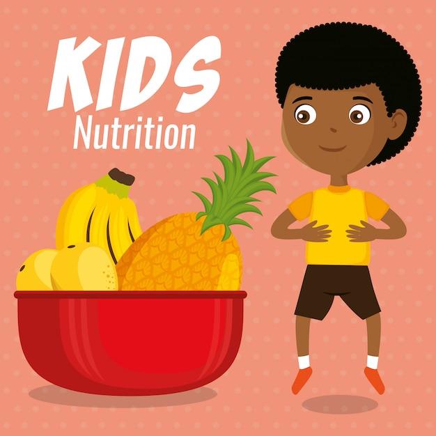 Glücklicher junge mit ernährung essen Premium Vektoren