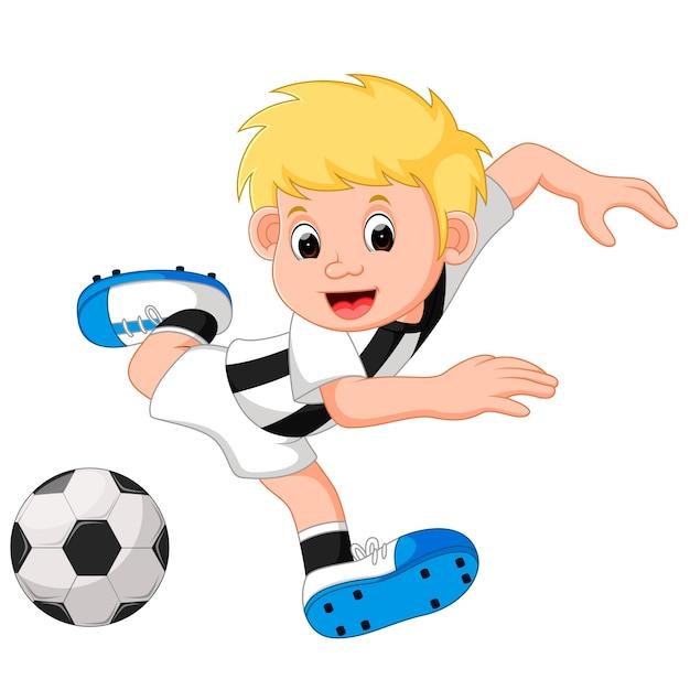 Glucklicher Jungen Cartoon Der Fussball Spielt Premium Vektor