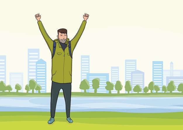 Glücklicher junger mann am morgenspaziergang im stadtpark. ein tourist mit erhobenen händen, eine geste des erfolgs zu zielen. . Premium Vektoren