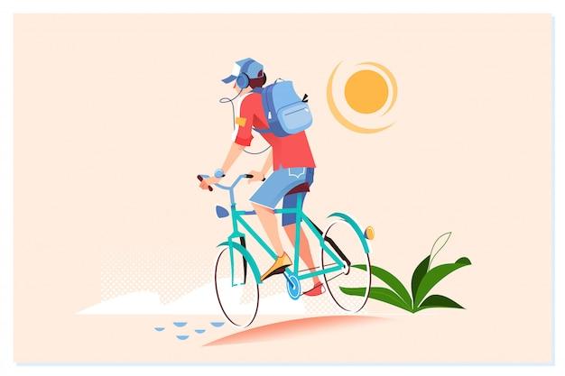 Glücklicher junger mann fährt fahrrad draußen Premium Vektoren