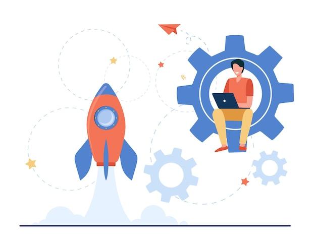 Glücklicher kerl, der projekt für startup entwickelt Kostenlosen Vektoren