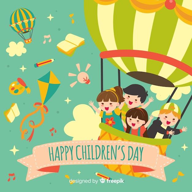 Glücklicher kindertaghintergrund im flachen design Kostenlosen Vektoren