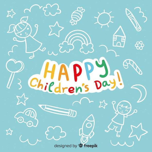 Glücklicher kindertaghintergrund mit beschriftung Kostenlosen Vektoren