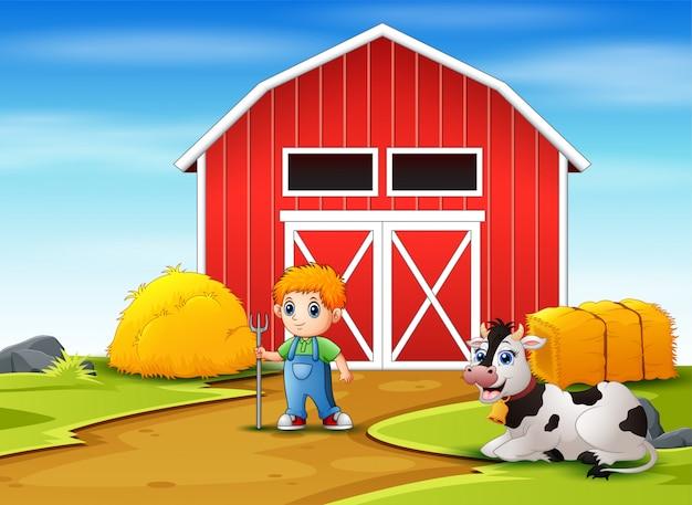Glücklicher kleiner bauer und kuh in der farm Premium Vektoren