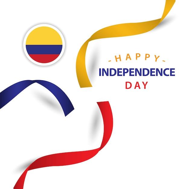 Glücklicher kolumbien-unabhängiger tagesvektor-schablonen-entwurf Premium Vektoren