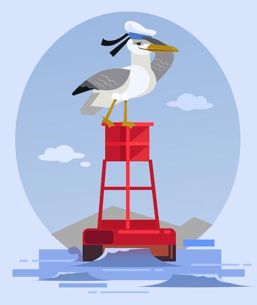 Glücklicher lächelnder albatrosvogelcharakter im kapitänshut, der auf leuchtturm sitzt und schaut. Premium Vektoren