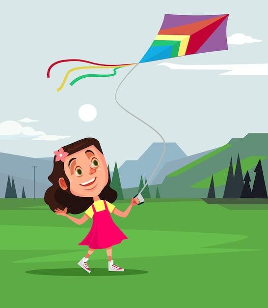 Glücklicher lächelnder kleiner mädchencharakter, der fliegendrachen spielt. sommerfrühlingszeitkonzeptkarikatur Premium Vektoren
