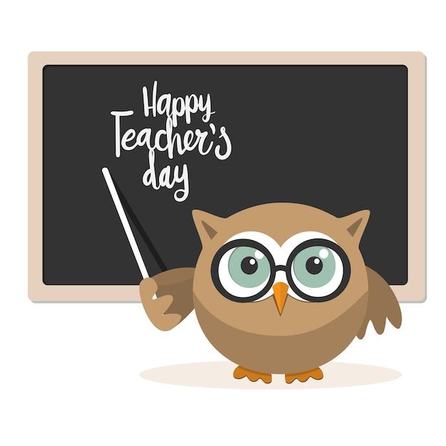 Glücklicher lehrertag mit eulenlehrer auf einem weißen hintergrund Premium Vektoren