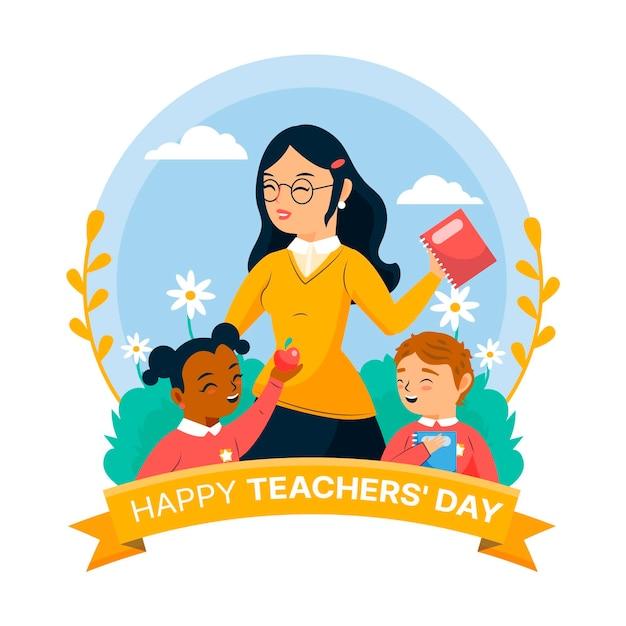 Glücklicher lehrertag mit lehrerin und kindern Kostenlosen Vektoren