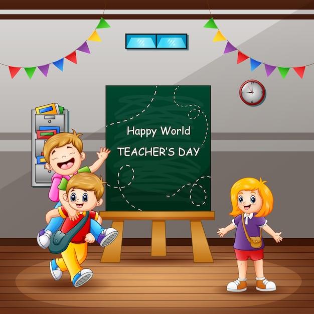 Glücklicher lehrertagstext mit kindern im klassenzimmer Premium Vektoren