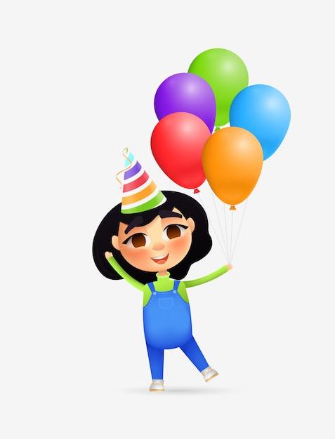 Glücklicher mädchencharakter mit partyhut und -ballonen Premium Vektoren