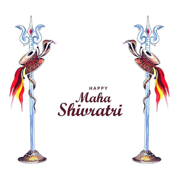 Glücklicher maha shivratri lord shiva trishul Kostenlosen Vektoren