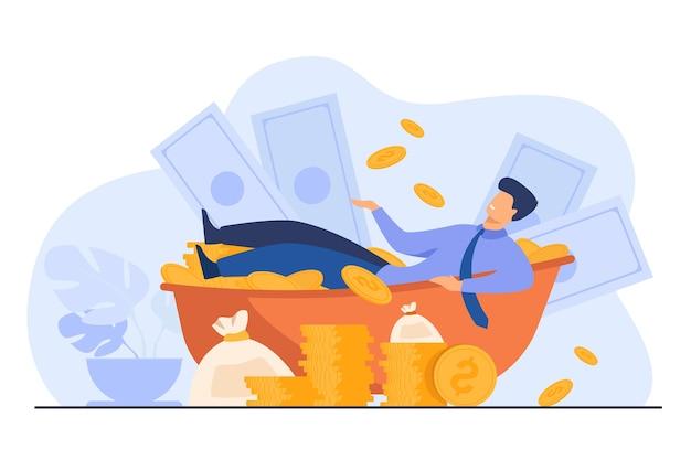 Glücklicher millionär, der bad mit bargeld nimmt. reicher mann und riesiger haufen geld. vektorillustration für finanziellen erfolg, erfolgreicher geschäftsmann, vermögenskonzept Kostenlosen Vektoren